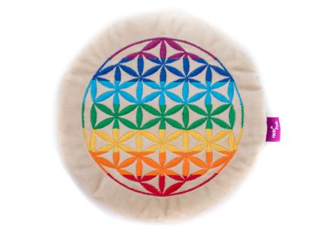 """Habibi Wärmekissen """"Blume des Lebens"""", 7 Chakrafarben, mit Klettverschluss Durchmesser 27cm"""